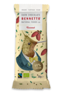 Bennetto Chocolate Mini Coconut Bar 30g