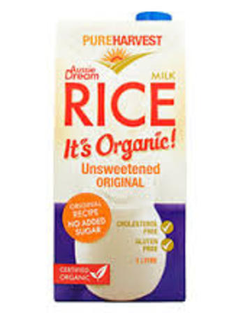Pureharvest rice milk unsweetened original 1L