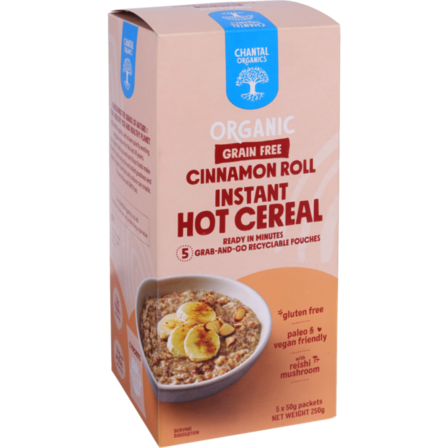 Chantal Grain Free Instant Hot Cereal - Cinnamon Roll 5x50g